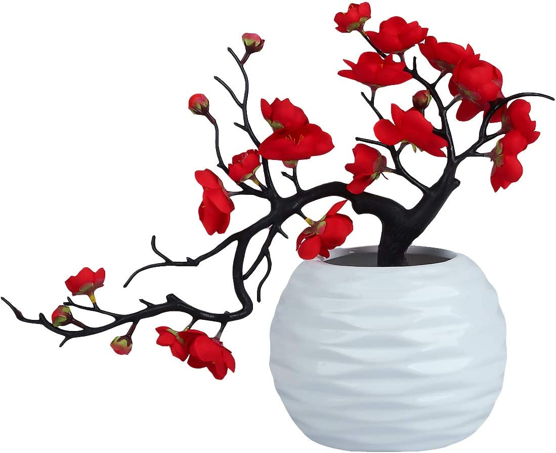Artificial Flower Arrangements with Vase,Silk Plum Blossom Flower Red with Ceramic Potted for Living Room Kitchen Table Centerpiece Indoor Outdoor Home Decor