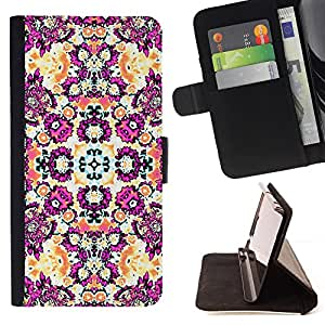 - Purple Floral Busy Pattern Design - Estilo PU billetera de cuero del soporte del tir???¡¯????n [solapa de cierre] Cubierta- For HTC One M7 £¨ Devil Case £©