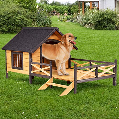 Tangkula Wood Dog House, Cabin Style Large Elevated Weather Waterproof Outdoor Pet Dog House, Lodge with Porch, Spacious Deck for Sunny Nap, Wooden Pet Dog House by Tangkula (Image #5)