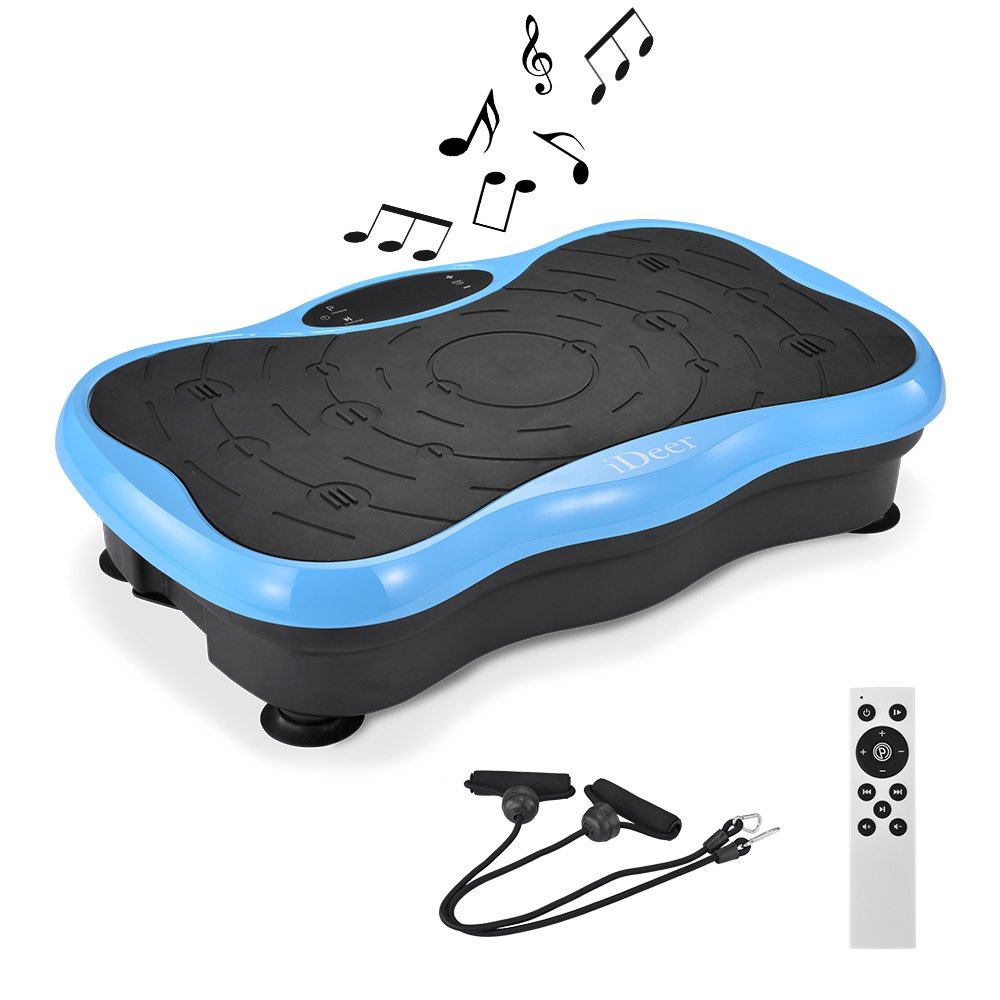 iDeer Vibration Platform Fitness Vibration Plates,Whole Body Vibration Exercise Machine w/Remote Control &Bands,Anti-Slip Fit Massage Workout Vibration Trainer Max User Weight 330lbs (Blue09004)