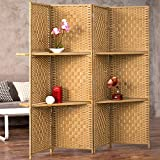 MyGift Wooden 4 Panel Paper Rope Woven Screen