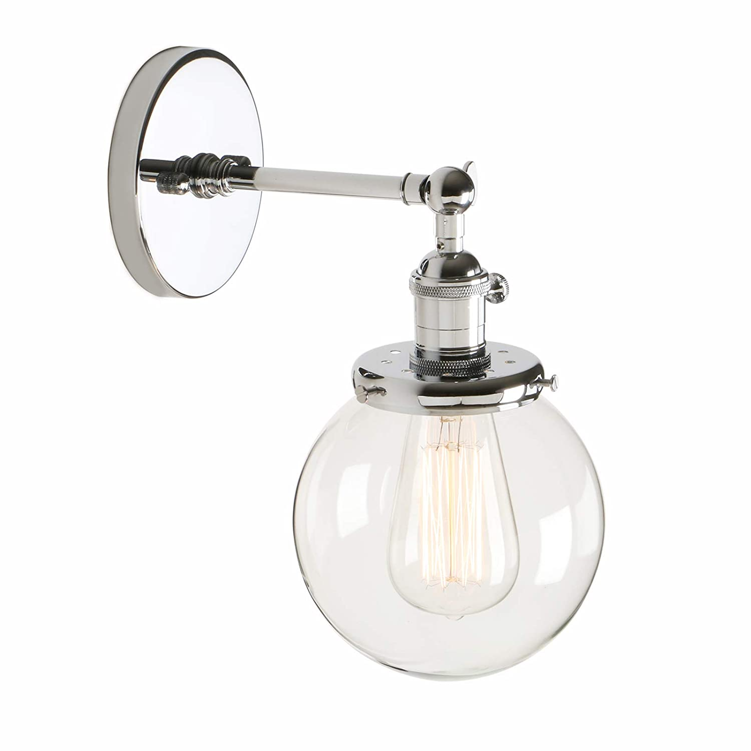 Pathson industrial vintage loft bar kitchen switch wall lights fittings corridor sconce light lamp fixture with 15cm globe clear glass lampshade chrome
