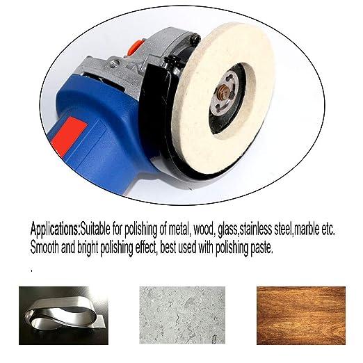 apertura de pulido de 16 mm 10 unidades de discos redondos de fieltro de lana de 4 pulgadas almohadilla de pulido para amoladora de /ángulo Disco de pulido de lana para pulido de lana