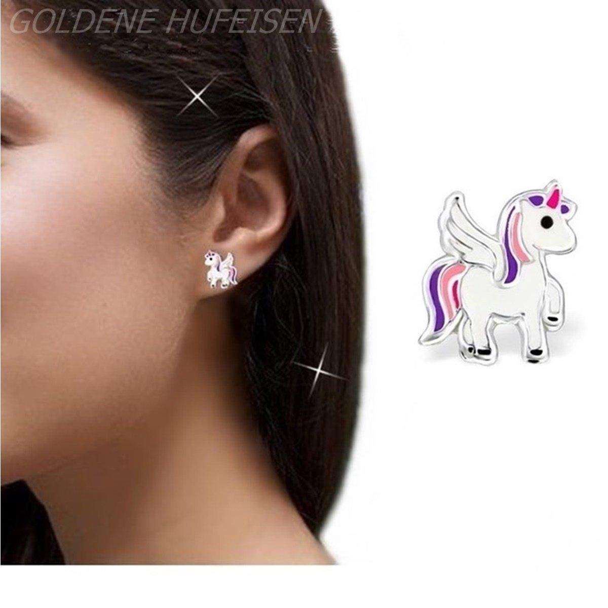 Kids Mini Licorne Enfants Parure pendentif Cha/îne GH Boucles doreilles en argent sterling 925/boucles doreilles fille cheval Pegasus