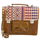 NOVICA Brown Leather and 100% Cotton Laptop Bag, 'Geometric Beauty'
