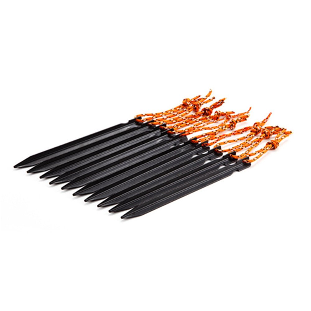 TechCode Tent Camping Pegs 10pcs, 7 inches (18cm) Ultralight Aluminum Alloy Tent Nail/Tent Stake with reflective Rope with Bag for Camping, Beach, Outdoor or More(Black) by TechCode (Image #2)