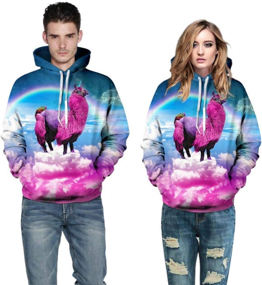 BAI Aassdd Headbook Regenbogen Bunte Wolken Digitaldruck Männer/Frauen Hoodie Sweatshirts Drucken 3D Sweatshirt Hoody Schöne Overalls,M L