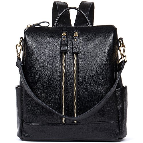 HMILY Leather Multi-Functional Backpacks Women Purse Casual Satchel Shoulder Bag Black by DANJUE