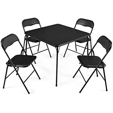 Giantex 5-Piece Folding Table and Chairs Set Multi-Purpose Kitchen Dining Games Table Set 1 Table 4 Chairs w/Padded Seat, Table Size 33 x33 x27.5 (LxWxH), Black