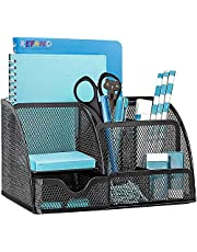 Office Desk Organizers and Accessories, Mesh Desk Organizer with 6 Compartments + Drawer