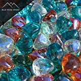 Blue Ridge Brand trade; Aqua, Clear, and Pink Champagne Blend Reflective Fire Glass Diamonds - 3 Pound Professional Grade Fire Pit Glass - 1'' Reflective Glass for Fire Pit and Landscaping