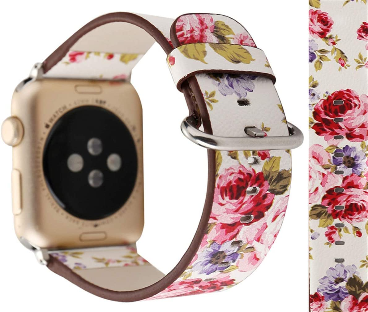 Compatible with Apple Watch Band 42mm 44mm, Flowers Floral Pastoral Prints Soft Leather Watch Strap Replacement Wristband Bracelet for Apple Watch Series 5 4 (44mm) Series 3 2 1 (42mm)