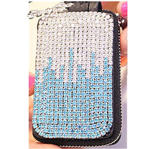 EVTECH(TM) Universal Car Smart Key Chain Leather Holder Cover Case Fob Remote 3D Handmade Luxury Shining Glitter Crystal Diamond Rhinestones (100% Handcrafted) (Pattern-A5)