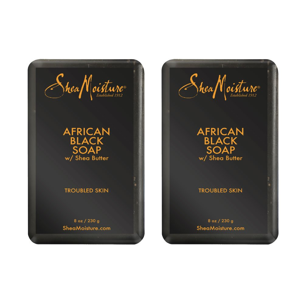 Shea Moisture African Black Soap With Shea Butter 8 oz (Pack of 2)