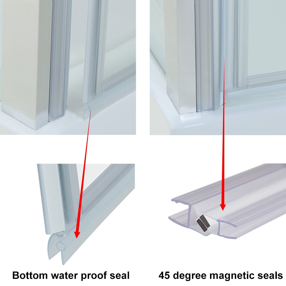 SIRHONA porte de douche 90 x 185 cm porte pivotante en niche 6 mm verre securit