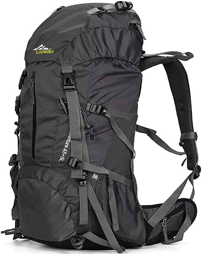 Loowoko Hiking Backpack 50L Travel Camping Backpack with Rain Cover