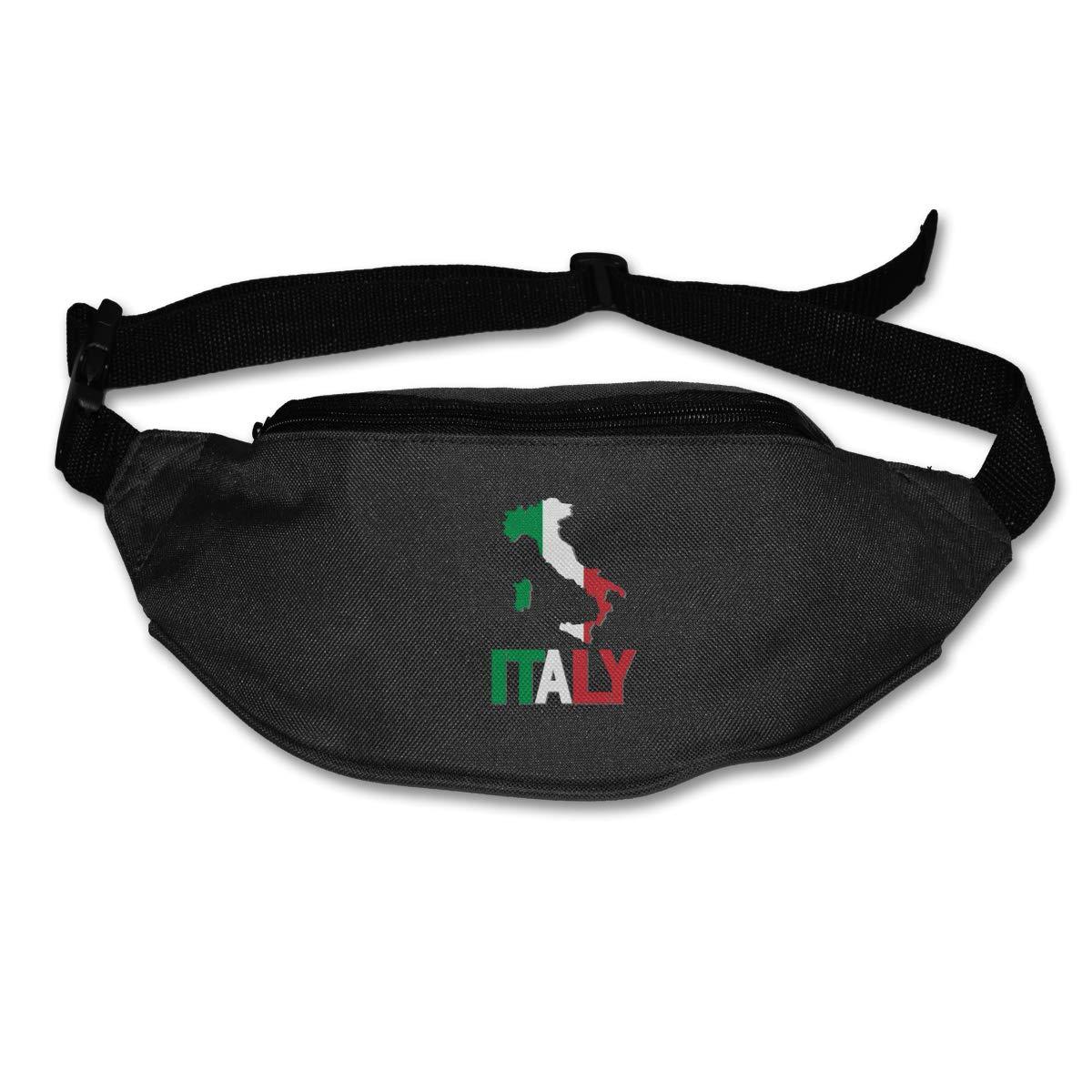 Italy Map Flag Sport Waist Bag Fanny Pack Adjustable For Run