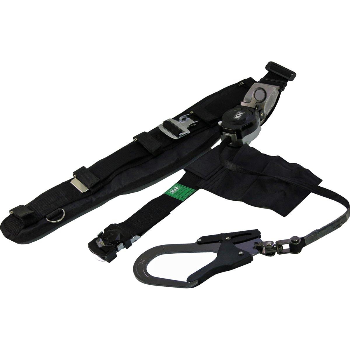 KH 安全帯 サポーターベルト付 ロープ式 タフアルミ 自在環 アロッキー ブラック [落下防止 電気工事 高所での安全作業] B00GU4ARP8