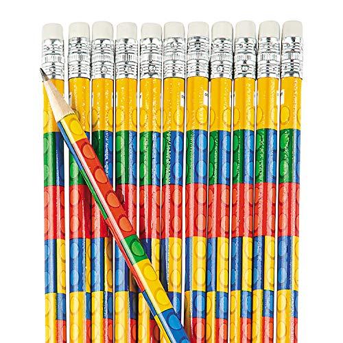 - Fun Express Colored Block Brick Party Favor Pencils - 24 Piece Pack