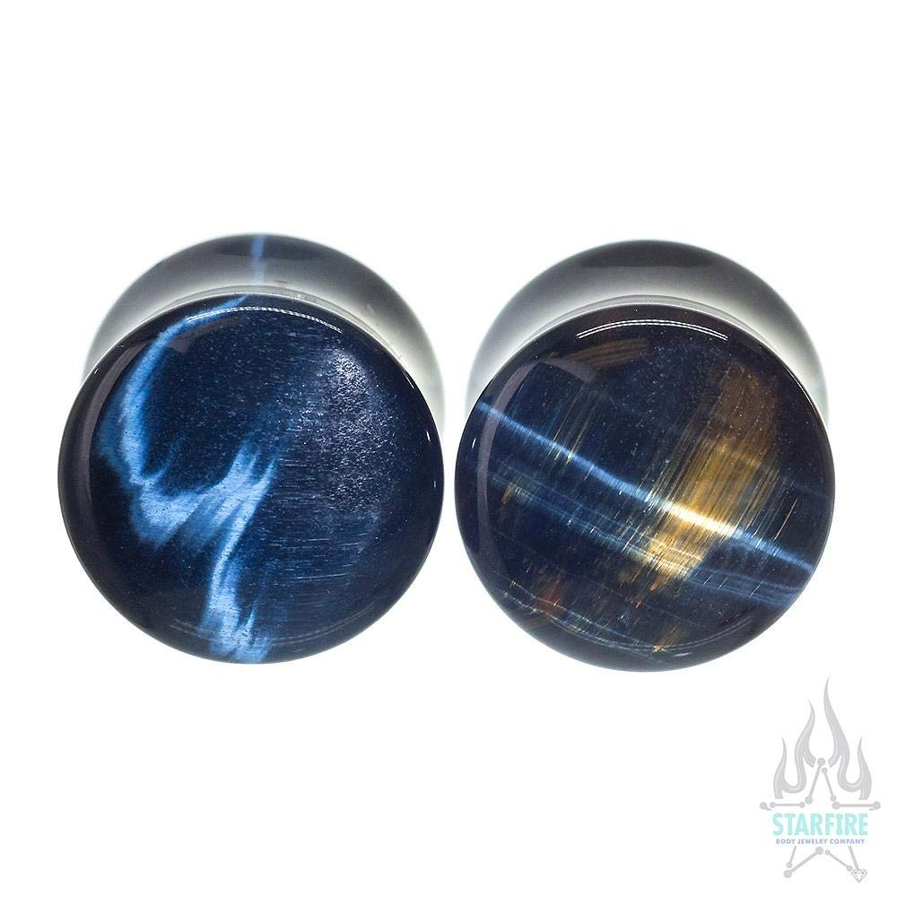Oracle Body Jewelry Stone Double-Flared Plugs - Blue Tiger's Eye, 1 1/8''