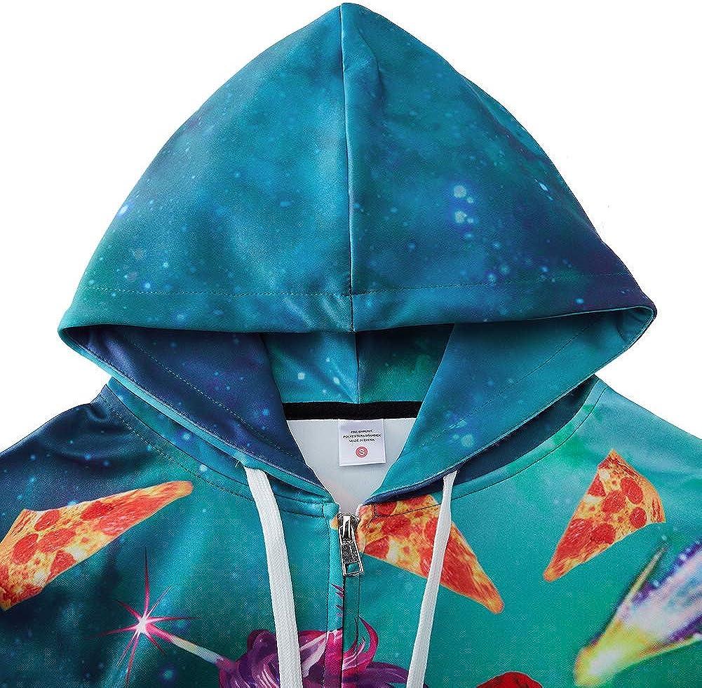 Leapparel Men//Women 3D Hoodie Full Zip Print Graphic Sweatshirts Pullover Casual Pocket Jacket