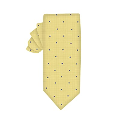 Corbata estrecha oro con lunares azul | 5 años de garantía ...