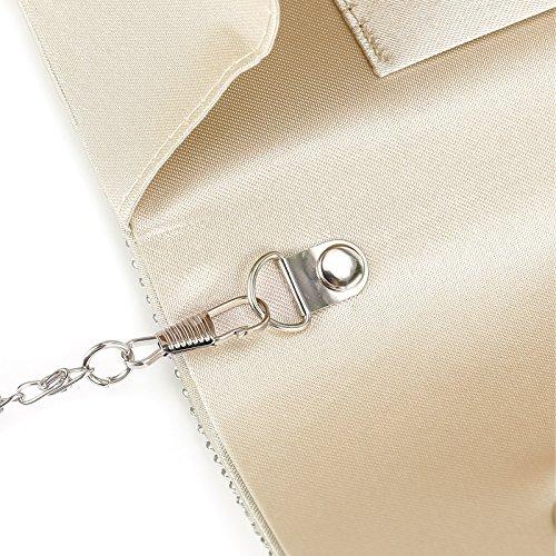 Bag Prom Champagne Diamante Clutch Bridal Women Bag Satin Handbag Pleated Evening Anladia Shoulder 7O1Zwqnvz