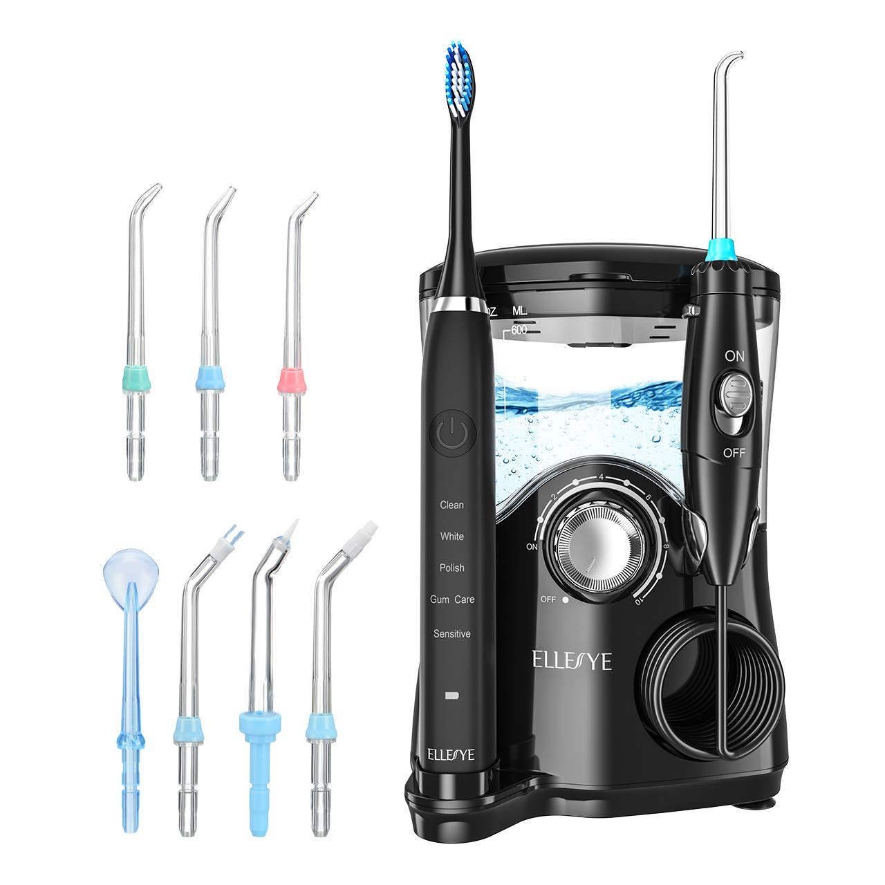 Water Flosser, ELLESYE 600ml Oral Irrigator Electric Toothbrush with 7 Multifunctional Jet Tips, 3 Min Timer, Dental Water Flosser for Braces Care Teeth Cleaning, Quiet Design Family