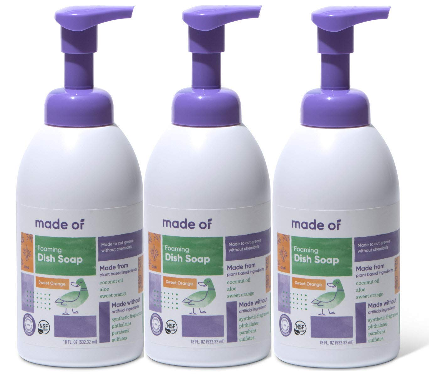 Organic Dish Soap by MADE OF - 100% Natural Dish Soap - for Baby Bottles - NSF Organic and Vegan - Made in USA - 18oz (Sweet Orange, 1-Pack) (3-Pack) by MADE OF