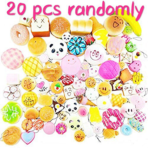 20 Pcs Kawaii Squishies Slow Rising Jumbo/Medium/Mini Random Cake Bread Panda Bun Kids Pretend Play ibloom squishy