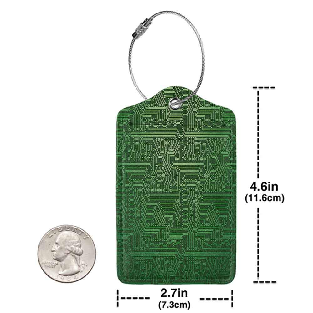 Small luggage tag Digital Computer Art Backdrop with Circuit Board Diagram Hardware Wire Illustration Quickly find the suitcase Emerald Fern Green W2.7 x L4.6