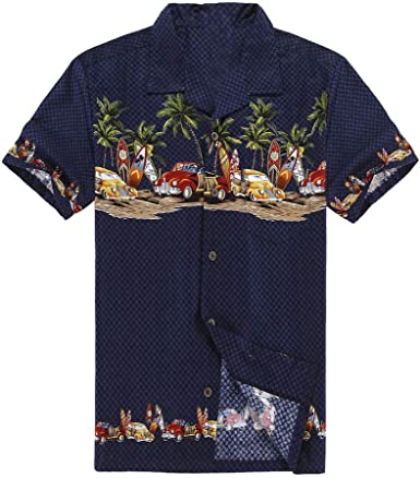Hombres Aloha Camisa Hawaiana en Coches Antiguos Palmeras Tablas de Surf en Azul Marino M: Amazon.es: Ropa y accesorios
