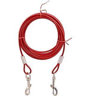 Orchidtent Cuerda de Doble Tracción para Perros Tracción de Dos Cables de Alambre de Acero Alargado