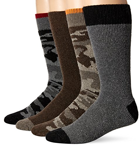 Wool IQ Men's Heavyweight Over-the-Calf Camo Sock 4-Pack, Bbco, Sock Size: 10-13/Shoe Size:9-11 ()