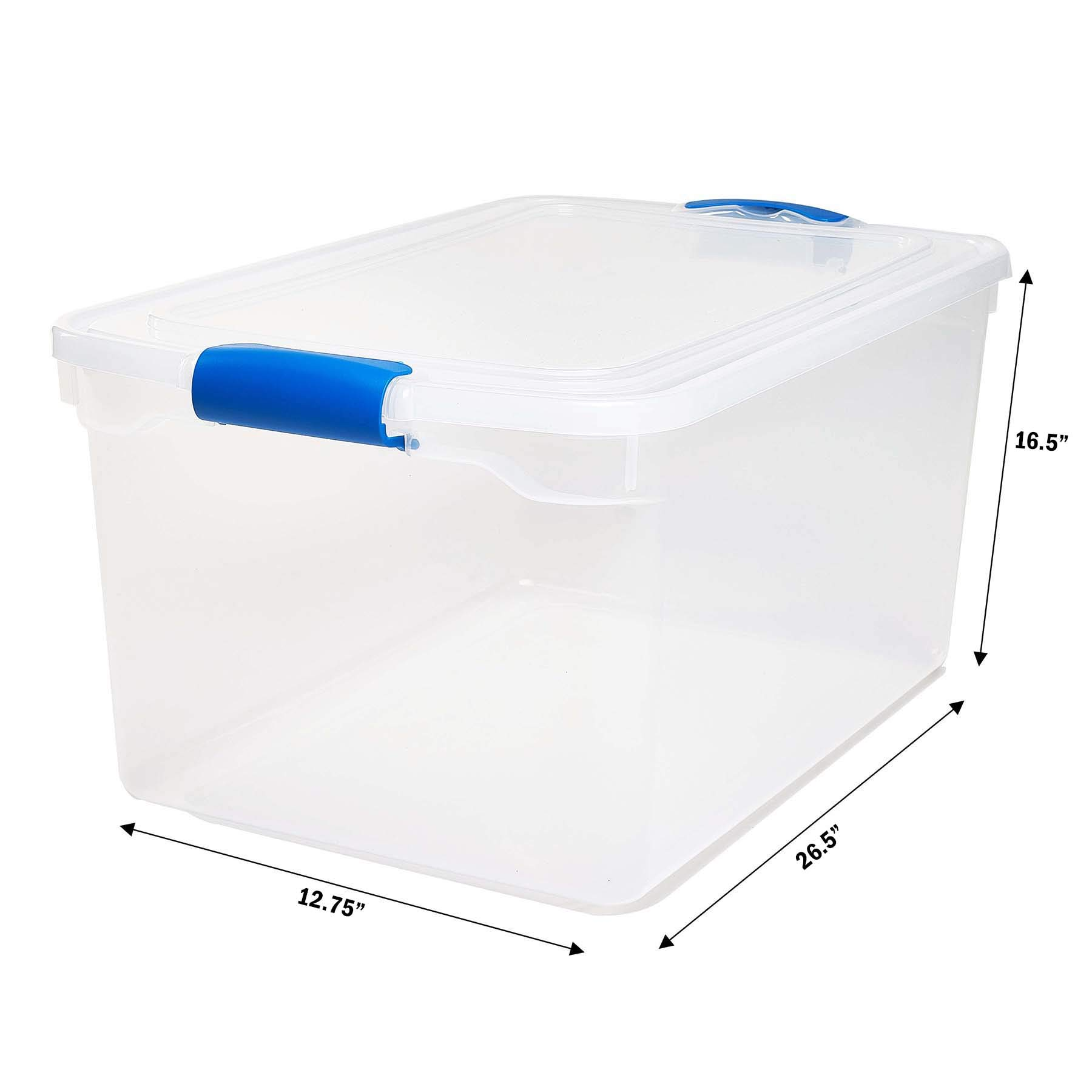 Homz Plastic Storage, Modular Stackable Storage Bins with Blue Latching Handles, 66 Quart, Clear, 2-Pack by Homz (Image #6)