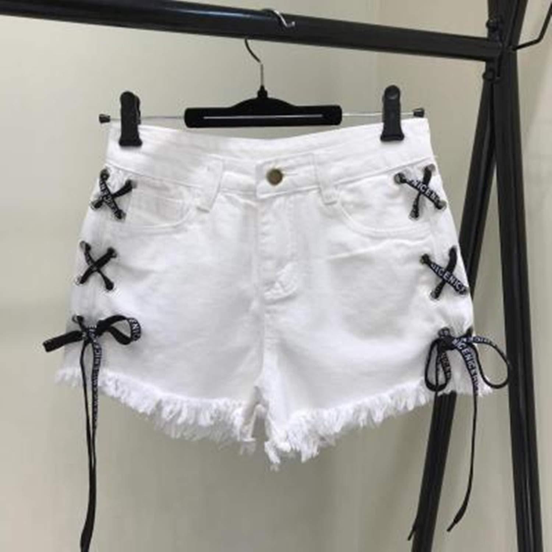 Women Tassel Denim Jeans Shorts Vintage High Waist Casual Shorts Jeans Girl Lace up Shorts Plus Size S-XL