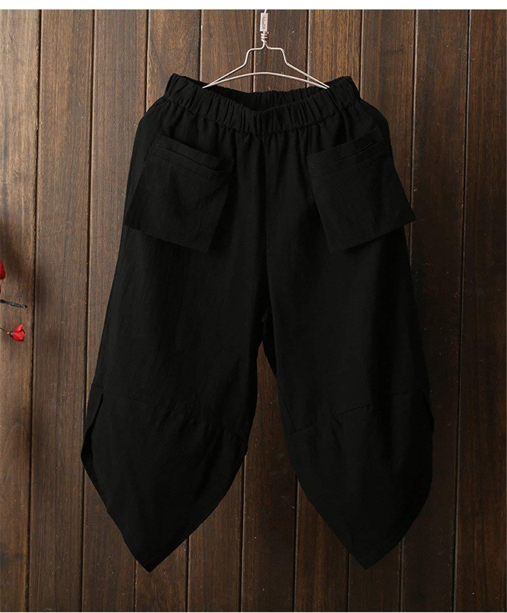 3 4 haremshose dam fit mode enfärgad lös modern linne haremshose med elastisk midja casual byxor jeggings sport yoga strandbyxor M 1nr