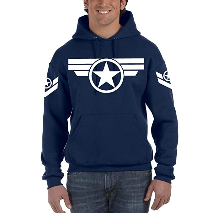 Capitán América Steve Rogers Marvel Navy - Sudadera con Capucha y Bolsillos (S)