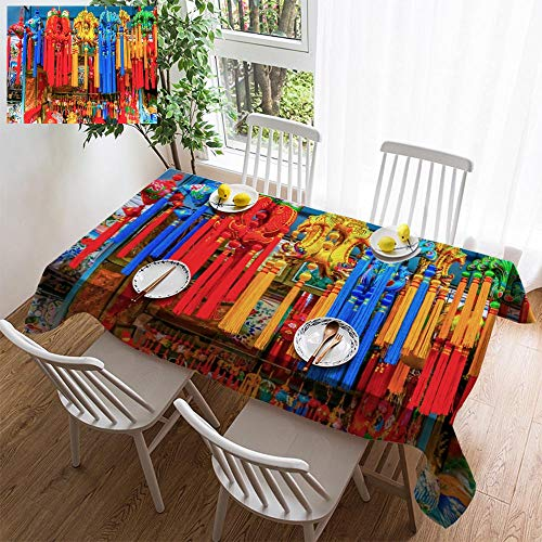 simple color cotton linen tablecloth,washable, Chinese New Year Silk Decorations Panjuan Flea Market Decorations Beijing China decorating restaurant - kitchen school coffee shop rectangular 54×54in