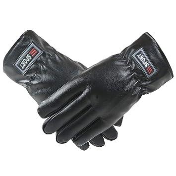 Mens PU Ski Gloves Windproof Fleece Lined Touchscreen Hand Warmers