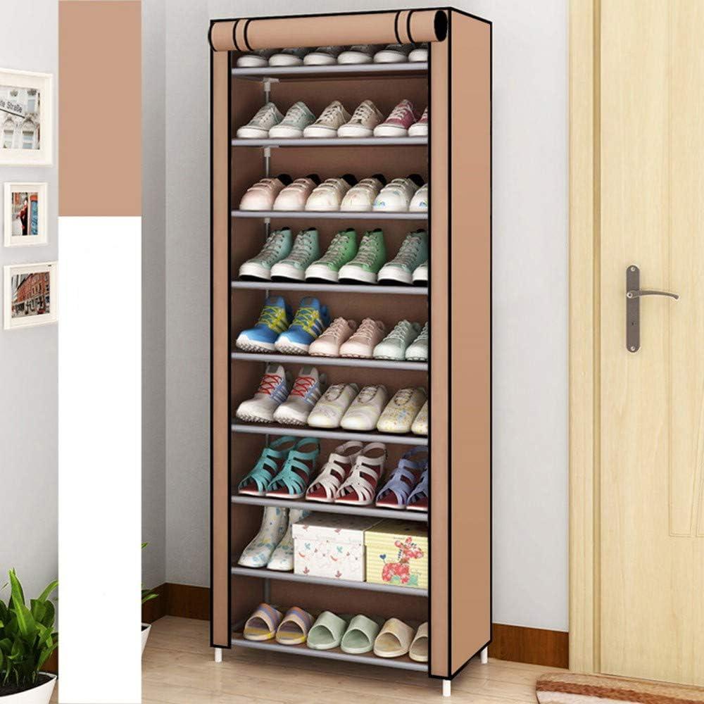 SoSo-BanTian1989 Coffee 10 Tiers Shoe Rack with Dustproof Cover Closet Shoe Storage Cabinet Organizer