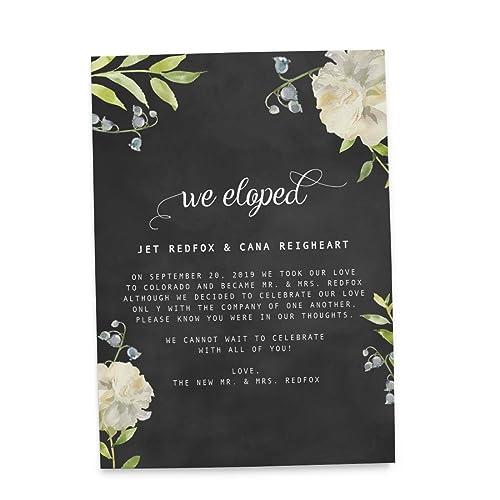 Amazoncom Chalkboard Elopement Wedding Announcement Cards - Party invitation template: elopement party invitation template