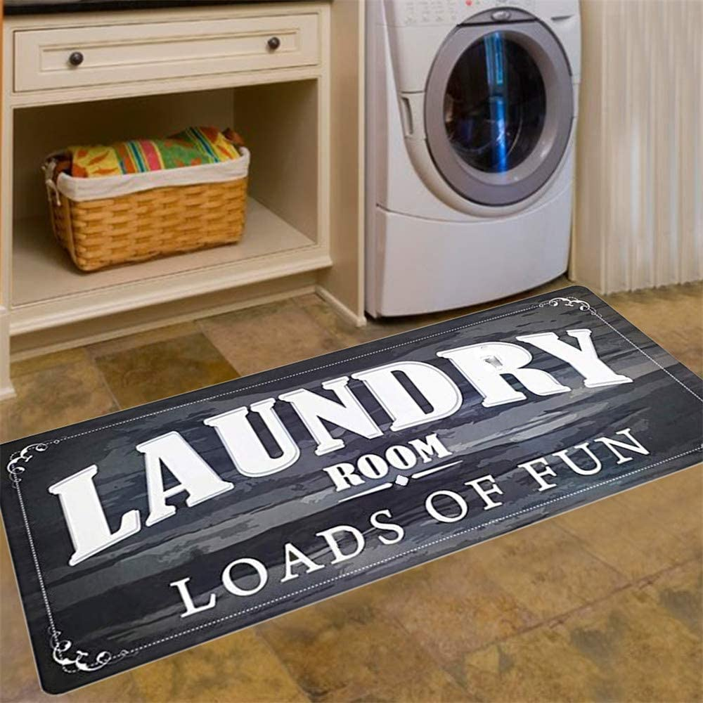 Abreeze Laundry Room Load of Fun Rug Floor Mat for Washroom Mudroom Non Skid Rubber Waterproof Kitchen Mat, 20x48,Black