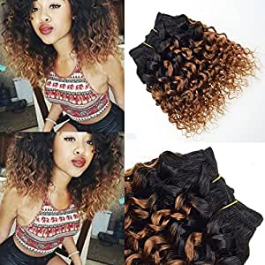 4 Pcs Afro Kinky Curly Hair T1B/30# Ombre Blonde Hair Extensions 8 Inch 7a Virgin Human Hair Curly Weave Brazilian Hair Weave Bundles
