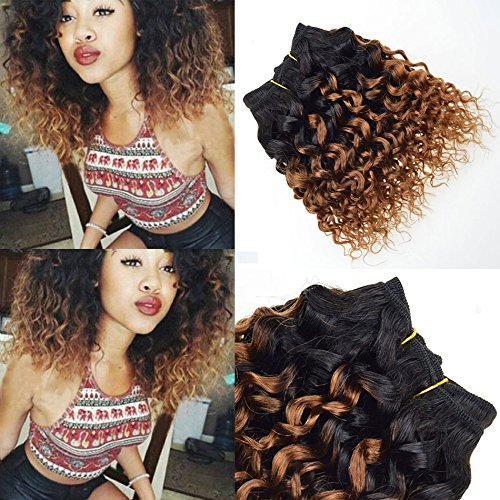 - 4 Pcs T1B/30 Afro Kinky Curly Ombre Blonde Hair Extensions Short Bob Human Hair Curly Weave Virgin Brazilian Hair Weave Bundles 8 Inch
