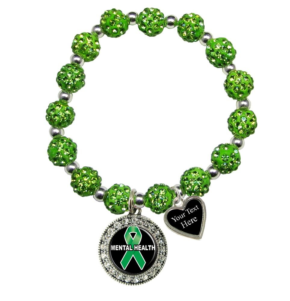 Holly Road Mental Health Awareness Green Bling Stretch Bracelet Jewelry Choose Your Text