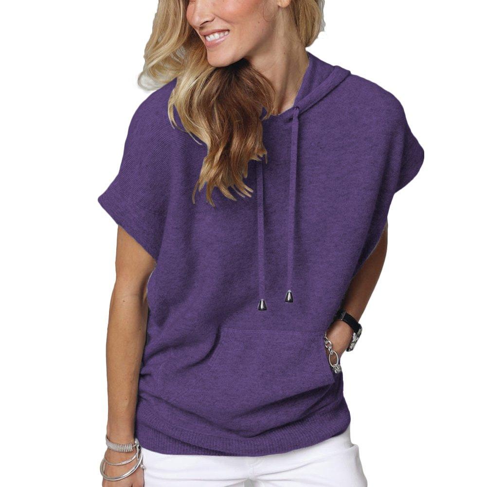 Parisbonbon Women's 100% Cashmere Hooded Sweater Color Purple Size 1X