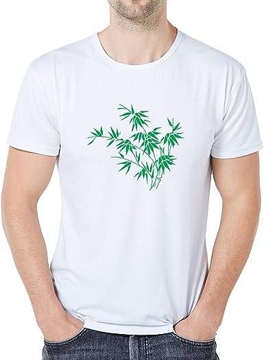 Sylar Camiseta para Hombre, Camisa Casual De Manga Corta con Cuello Redondo Hojas de Bambu Impresión para Tops Blusa Las Actividades Diarias, Deportes Al Aire Libre, Playa, Hogar, Vacaciones: Amazon.es: Ropa y