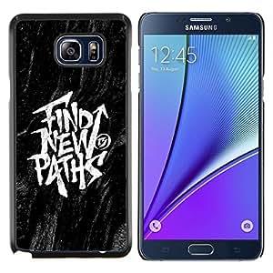 TECHCASE---Cubierta de la caja de protección para la piel dura ** Samsung Galaxy Note 5 ** --Encontrar Mensajes Nuevos Caminos Negro Inspiring