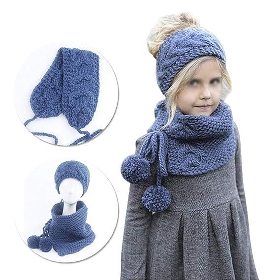 07bd6ba41d38f Sunroyal Otoño 2-9 Años Bebé Niñas Invierno Lana Tejidos Diadema Sombreros  de Punto Bufandas